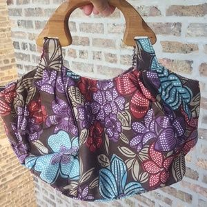 FYH Hawaiian flowers wood handles hand bag